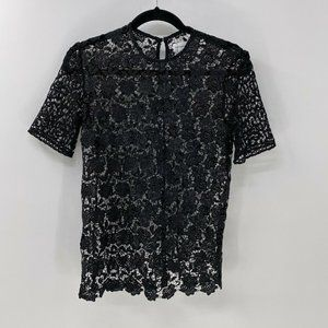 Sincerely jules black floral lace top XS